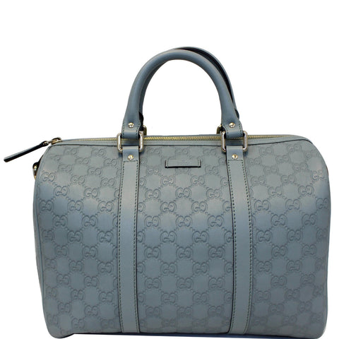 GUCCI Medium Joy Guccissima Leather Boston Bag Turquoise