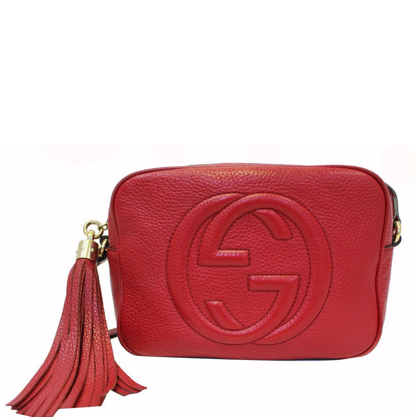 GUCCI Soho Disco Pebbled Leather Small Crossbody Bag Red-US