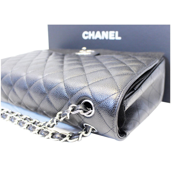 CHANEL Classic Maxi Jumbo Double Flap Caviar Leather Shoulder Bag-US