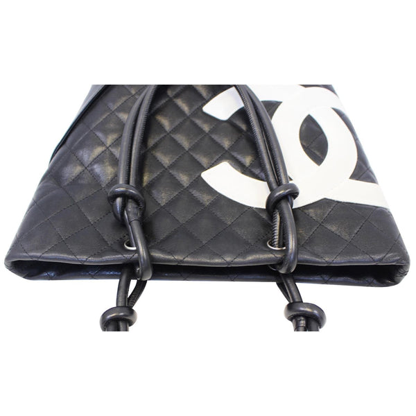 Chanel Tote Bag Cambon Small Quilted Leather Black full view