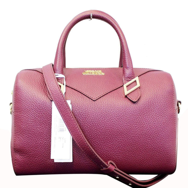 Versace Satchel Shoulder Bag Burgundy - front view