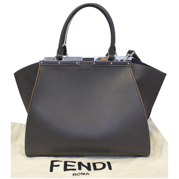 Fendi Petite 3Jours Calfskin Leather Tote Bag Dark Grey straps
