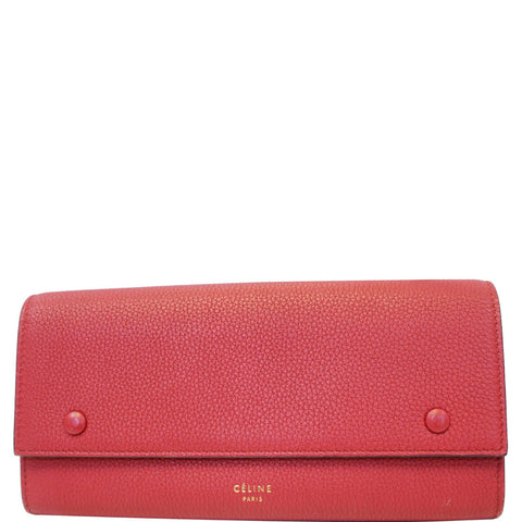 CELINE Large Flap Multifunction Leather Wallet Red
