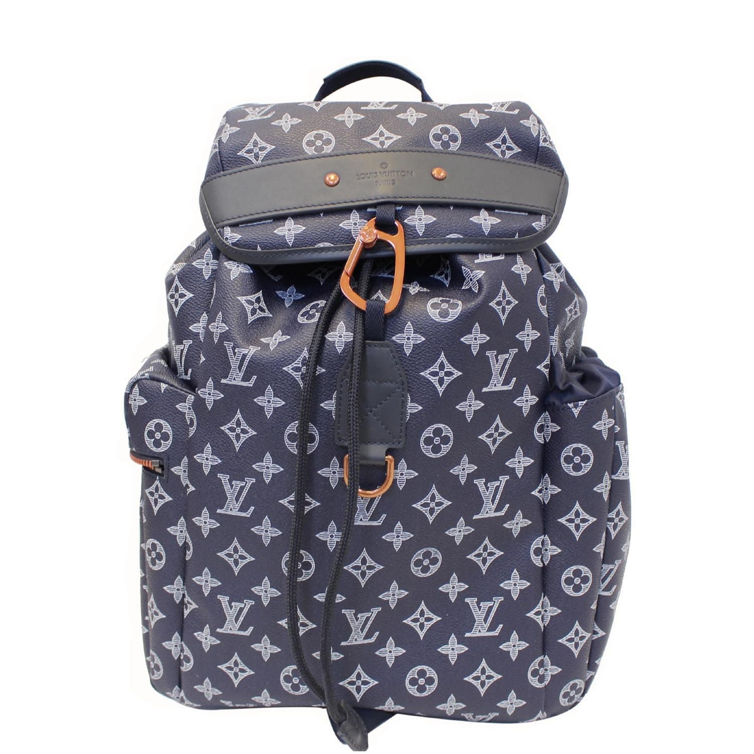 866bec517e LOUIS VUITTON Discovery Upside Down Monogram Backpack Bag Navy Blue