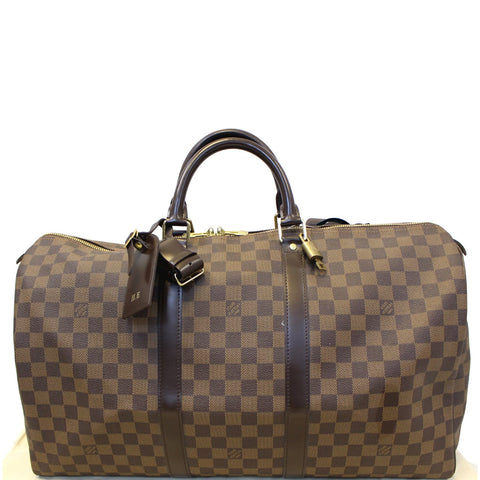 LOUIS VUITTON Keepall 50 Damier Ebene Boston Travel Bag