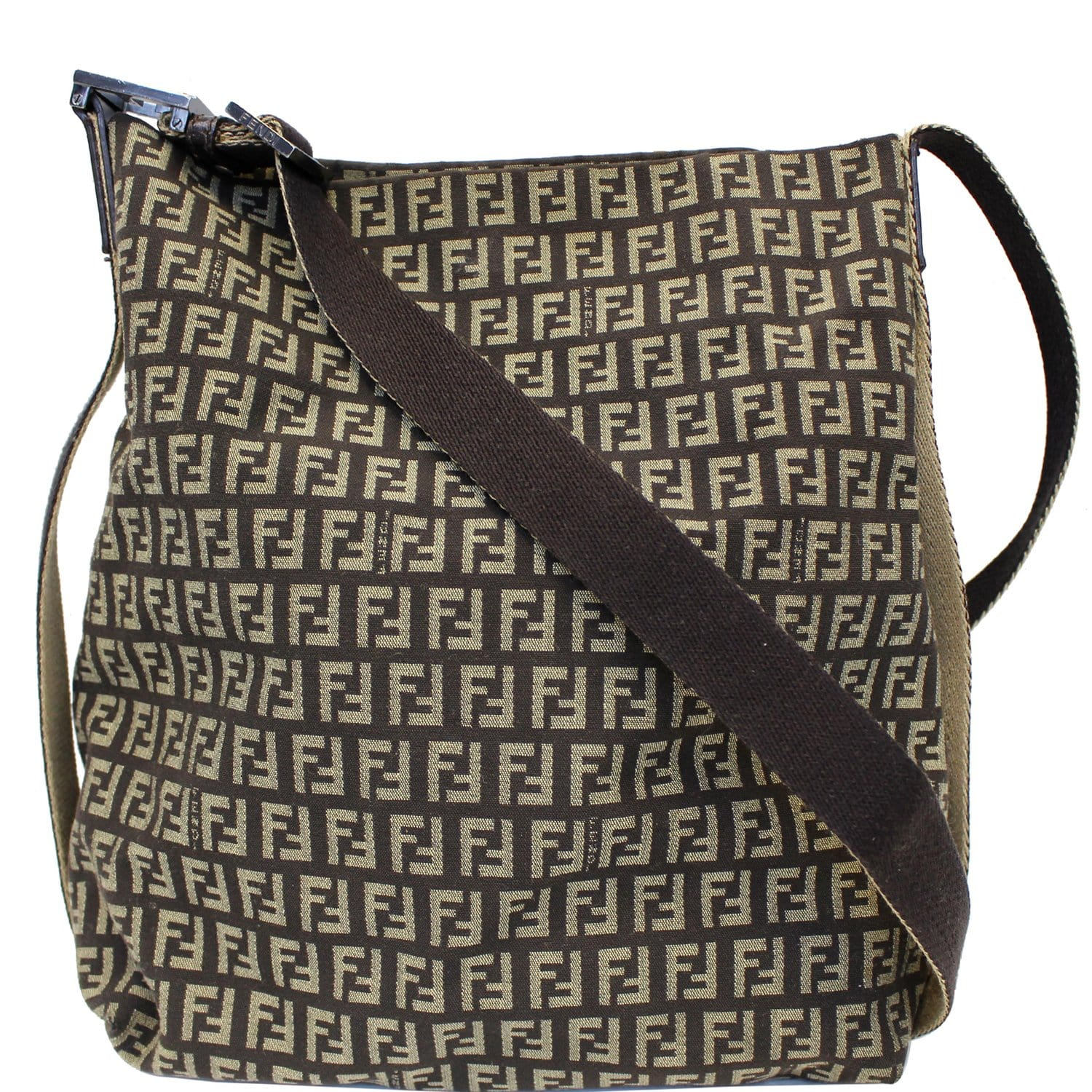 fff241de7d97f FENDI Zucchino Canvas Crossbody Bag Brown-US