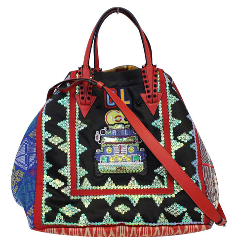 CHRISTIAN LOUBOUTIN Caba World Motif Embroidered Tote Bag Multicolor