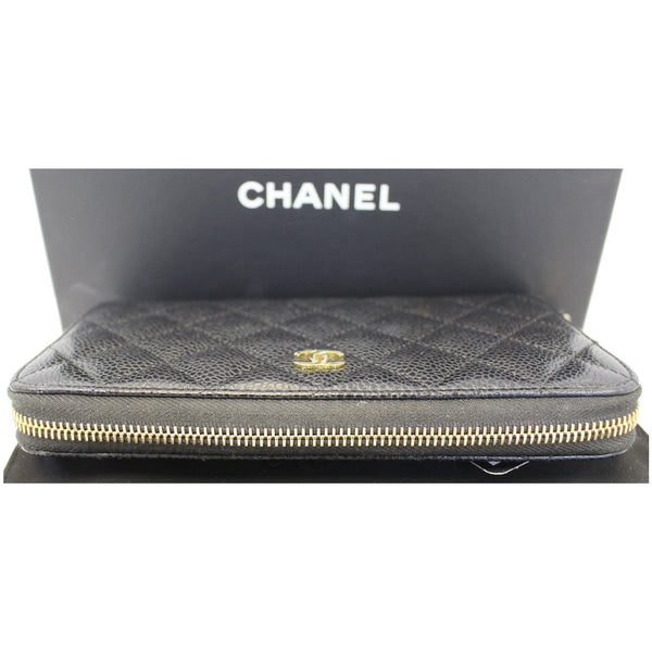 CHANEL Black Caviar Leather Zippy Wallet Black-US