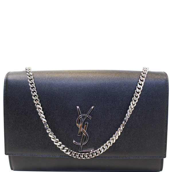 YVES SAINT LAURENT Kate Large Grain De Poudre Leather Shoulder Bag Black