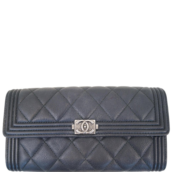 Chanel Boy Large Flap Lambskin Leather Wallet Black