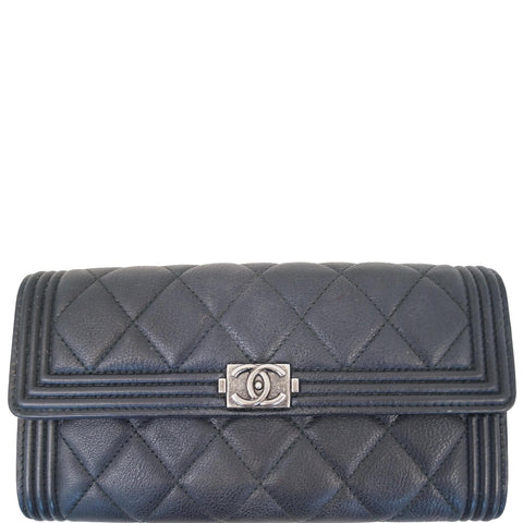CHANEL Boy Large Flap Lambskin Leather Wallet Black - 15% OFF