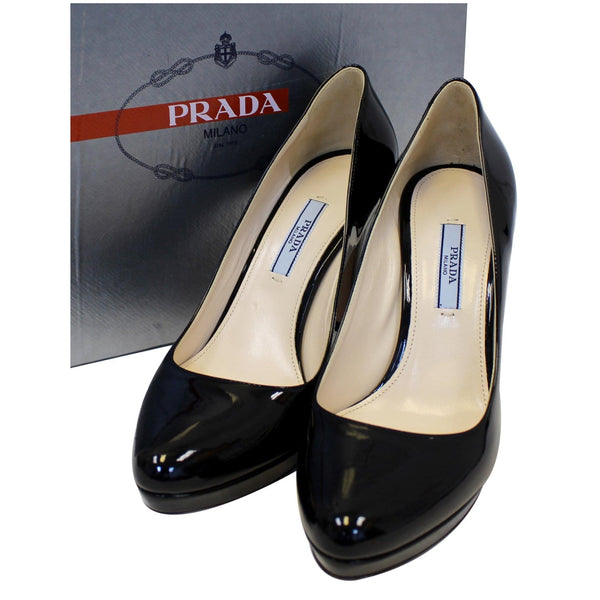 Prada Black Pumps - Patent Leather Pumps - Front Side View