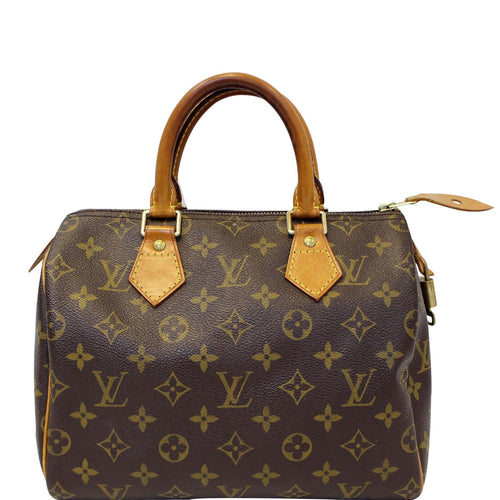 ccaf119436 LOUIS VUITTON Speedy 25 Monogram Canvas Satchel Bag Brown
