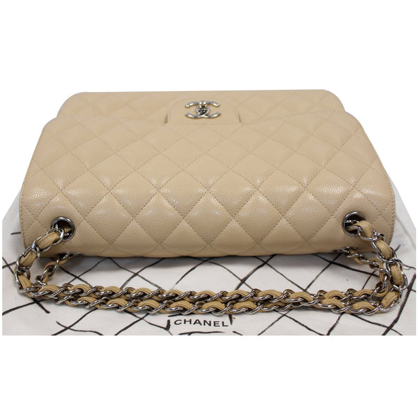 Chanel Jumbo Double Flap Caviar Leather Shoulder Bag Beige straps