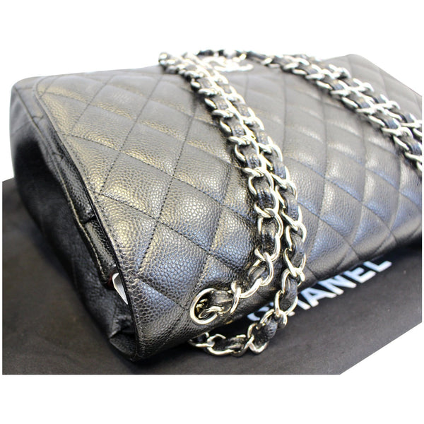 CHANEL Maxi Caviar Leather Jumbo Double Flap Shoulder Bag Black-US