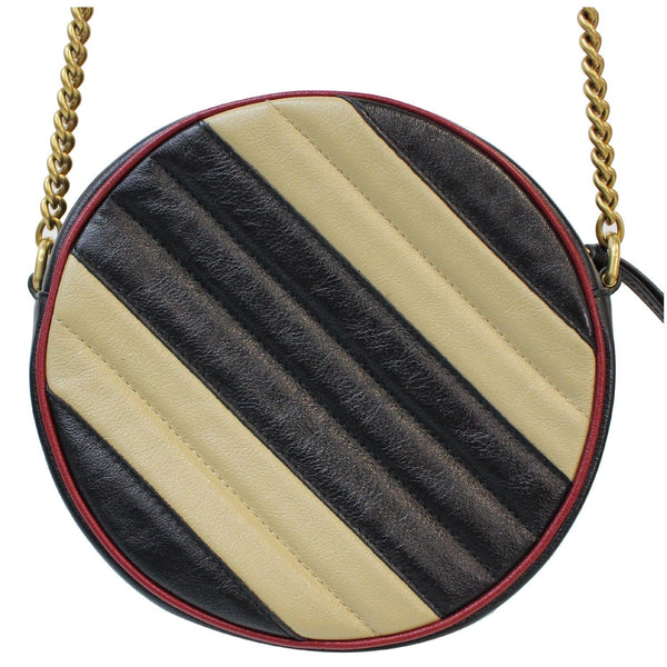 GUCCI Stripe GG Marmont Mini Round Leather Crossbody Bag Black/Beige 550154