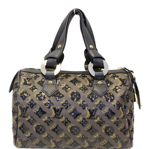 3c01af5118ad LOUIS VUITTON Eclipse Speedy 30 Sequin Monogram Canvas Satchel Bag Black
