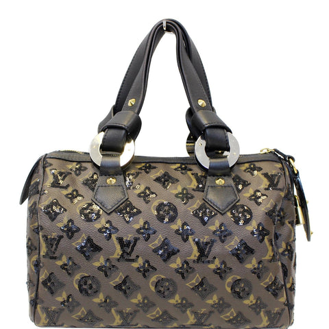 LOUIS VUITTON Eclipse Speedy 30 Sequin Monogram Canvas Satchel Bag Black