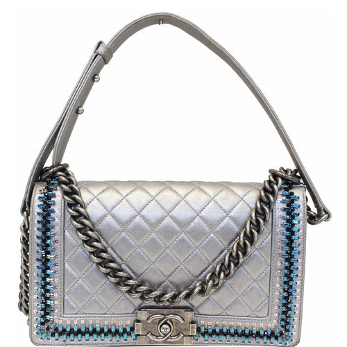 CHANEL Boy Medium Lambskin Leather Embroidered Shoulder Bag Silver