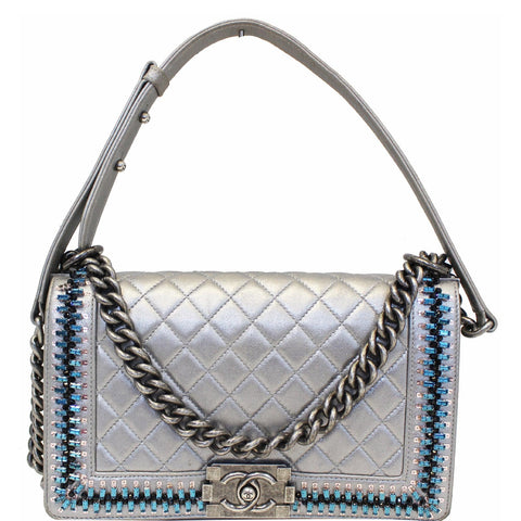 CHANEL Boy Medium Lambskin Leather Embroidered Shoulder Bag Silver - 15% OFF