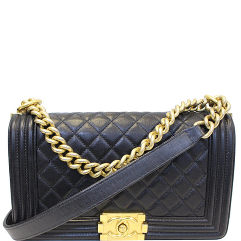 CHANEL Medium Boy Flap Lambskin Leather Shoulder Bag Black