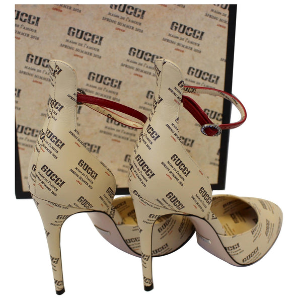 Gucci Invite Stamp Print Apollo Pumps Beige Size 38 for women