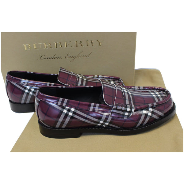 Burberry Check Leather Loafers - back view