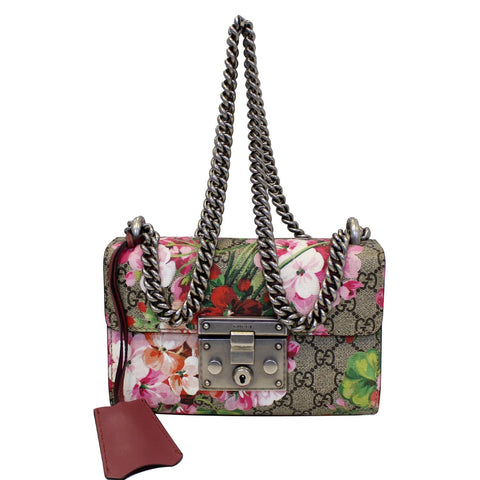 GUCCI Small Padlock GG Supreme Monogram Blooms Print Shoulder Bag - 25% OFF