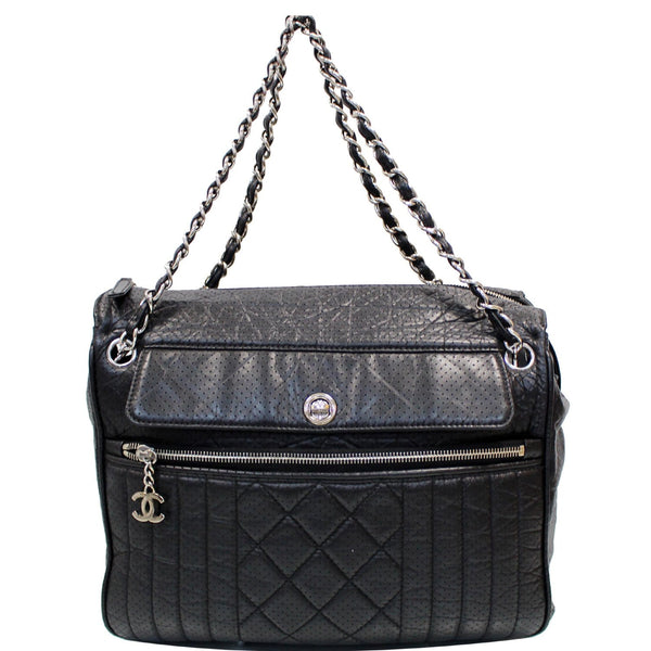 CHANEL Calfskin Perforated 50's Bowler Bag Black