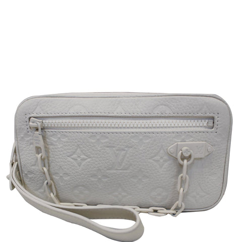 LOUIS VUITTON Pochette Volga Monogram Clutch Bag White
