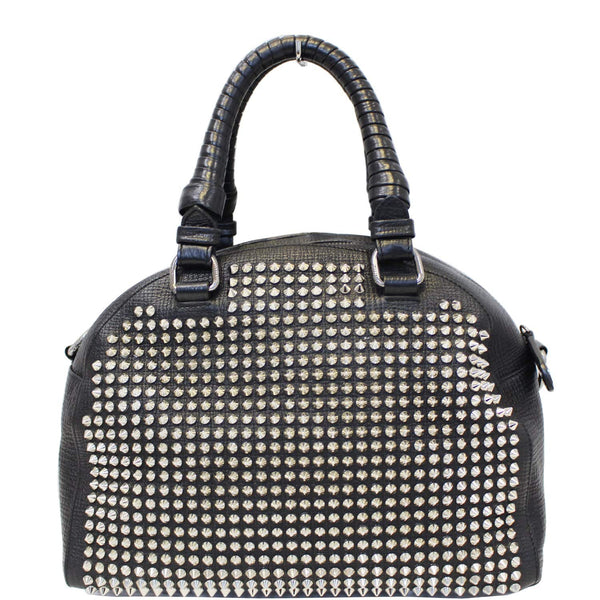 CHRISTIAN LOUBOUTIN Panettone Spike Stud Leather Satchel Bag Black-US