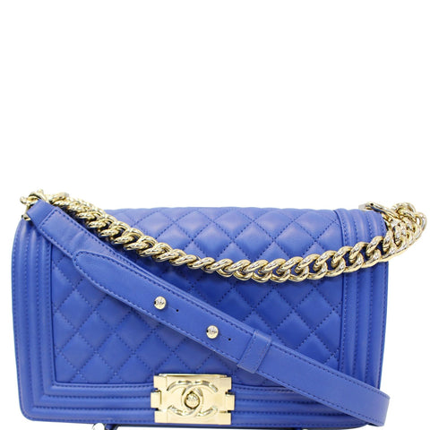 CHANEL Boy Medium Calfskin Leather Shoulder Bag Blue