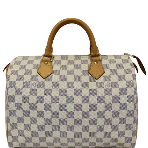 LOUIS VUITTON Speedy 30 Damier Azur Satchel Handbag White
