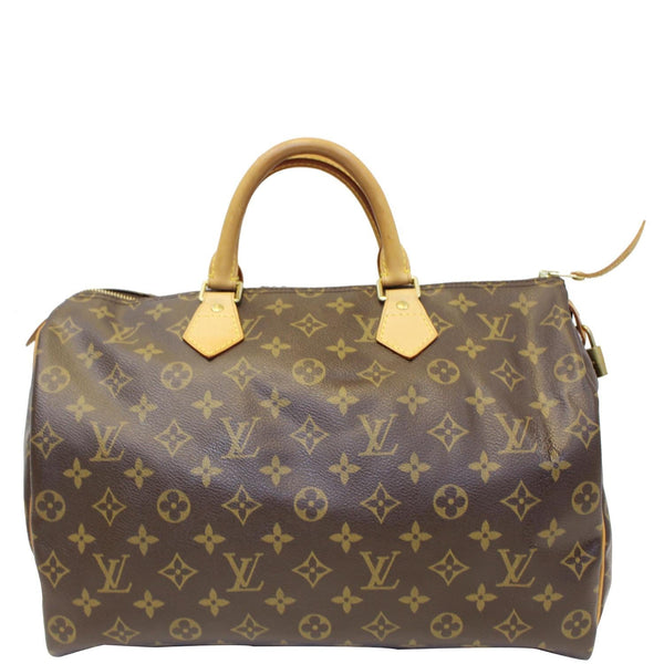 LOUIS VUITTON Speedy 35 Monogram Canvas Satchel Bag Brown-US