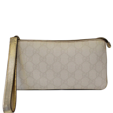 GUCCI GG Canvas Wristlet Pochette Clutch Bag White 190553