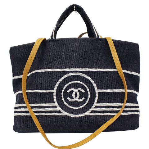 CHANEL CC Shopping Large Tote Shoulder Bag Denim