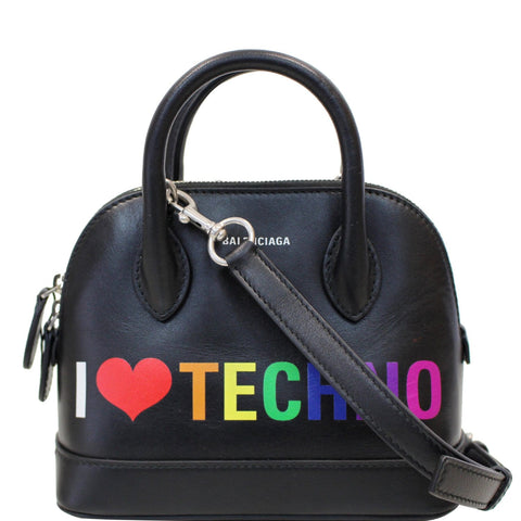 BALENCIAGA I Love Techno Ville Top Handle XXS Crossbody Bag Black
