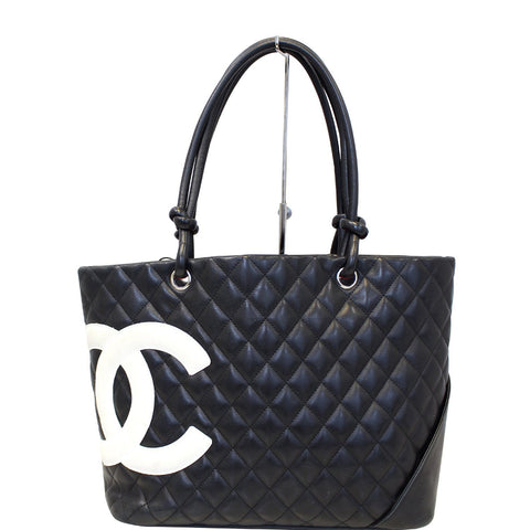 CHANEL Cambon  Black CalfSkin Leather Large Tote Bag