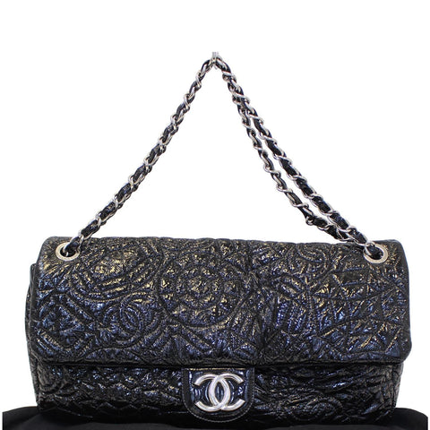 CHANEL Quilted Pattern Jumbo Single Flap Bag Black