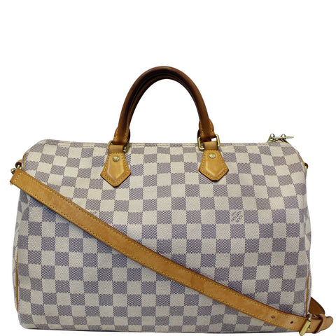 Louis Vuitton Speedy 35 Bandouliere Damier Azur Shoulder Bag White