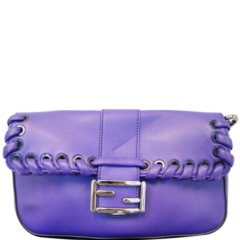 FENDI Baguette Whipstitch Trimmed Leather Shoulder Bag Purple