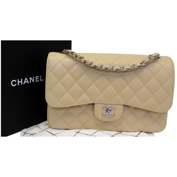 CHANEL Timeless Classic Jumbo Double Flap Caviar Leather Shoulder Bag-US