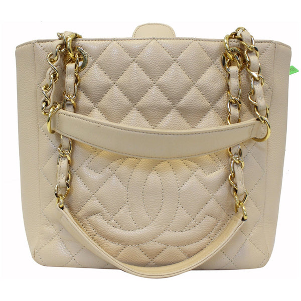 Chanel Tote Bag PST Caviar Leather Petit Shopping Beige full view