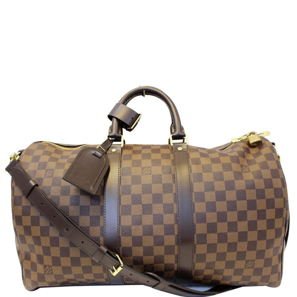 LOUIS VUITTON Keepall 45 Bandouliere Damier Ebene Travel Bag Brown-US