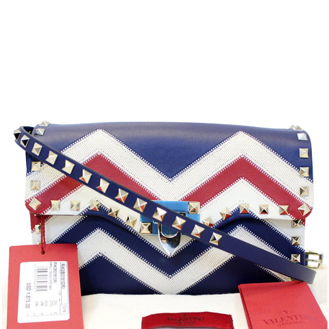 Valentino Chevron Motif Rockstud Crossbody Bag