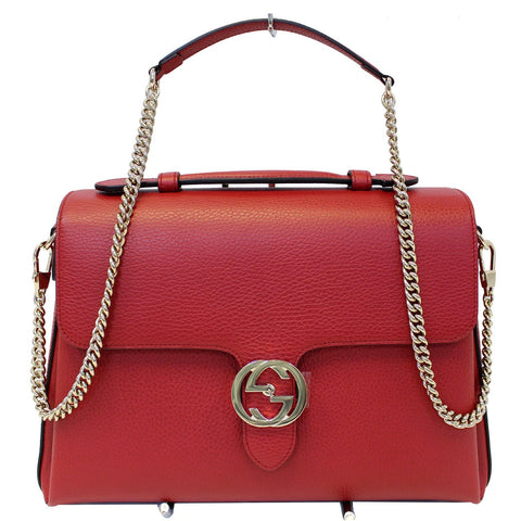 GUCCI Interlocking GG Calfskin Leather Medium Shoulder Bag Red