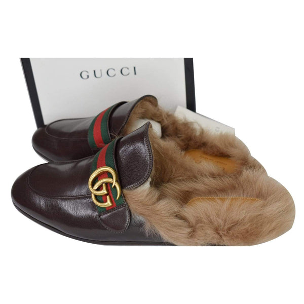 Gucci Princetown Fur Leather Slipper Cocoa Brown - full view