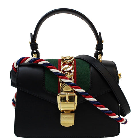 GUCCI Sylvie Mini Leather Crossbody Bag Black 470270