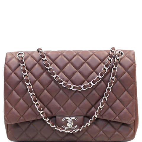 CHANEL Maxi Classic Flap Caviar Leather Shoulder Bag Brown