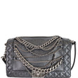 CHANEL Boy Enchained Medium Calfskin Leather Flap Shoulder Bag Black